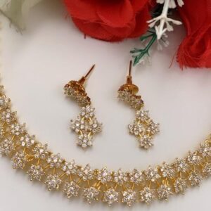 two layered american diamond necklace