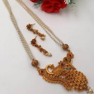 white pear long chain with Peacock Pendant